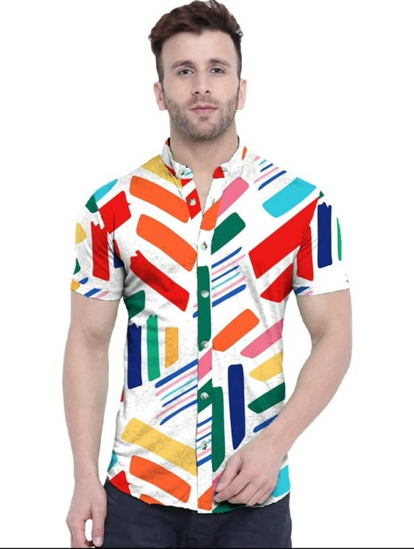Colourful Brushes Printed Half Sleeves Shirt For Men