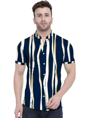 Trendy Stripes Satin Blend Printed Half Sleeves Shirt For Men