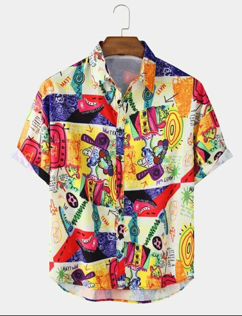 New Graffiti Satin Blend Printed Half Sleeves Shirt For Men