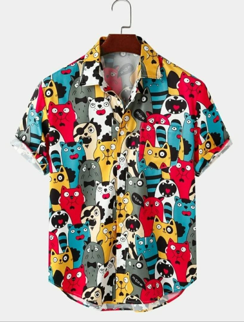 Cat's Satin Blend Printed Half Sleeves Shirt For Men