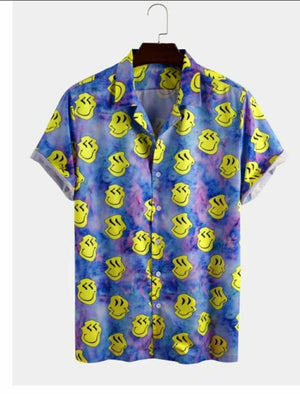 Smily Satin Blend Printed Half Sleeves Shirt For Men
