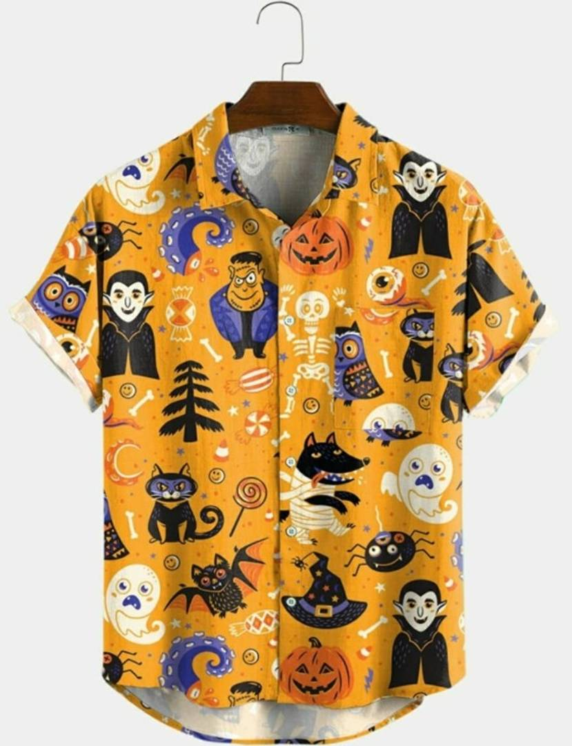 Halloween Satin Blend Printed Half Sleeves Shirt For Men