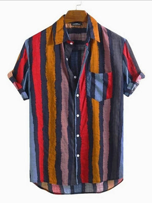 Stripes Satin Blend Printed Half Sleeves Shirt For Men