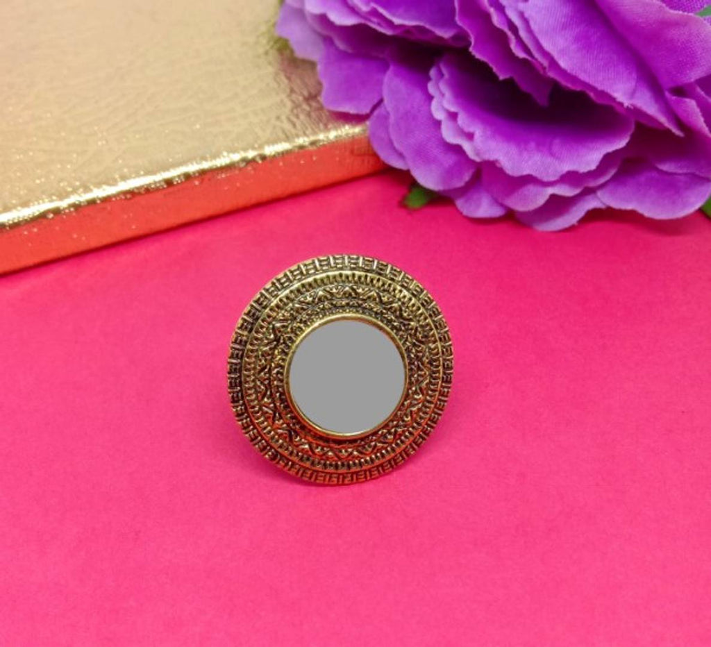 Trendy Designer Alloy Mirror Ring