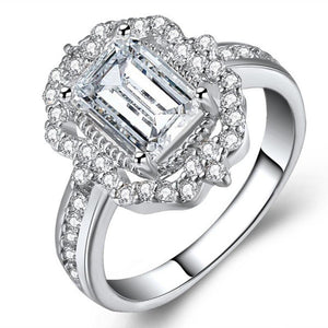 Fashion Girls Plated White Gold Zircon Square Diamond Ring