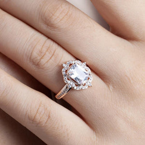 Fashion Girls Plated Rose Gold Zircon Square Diamond Ring