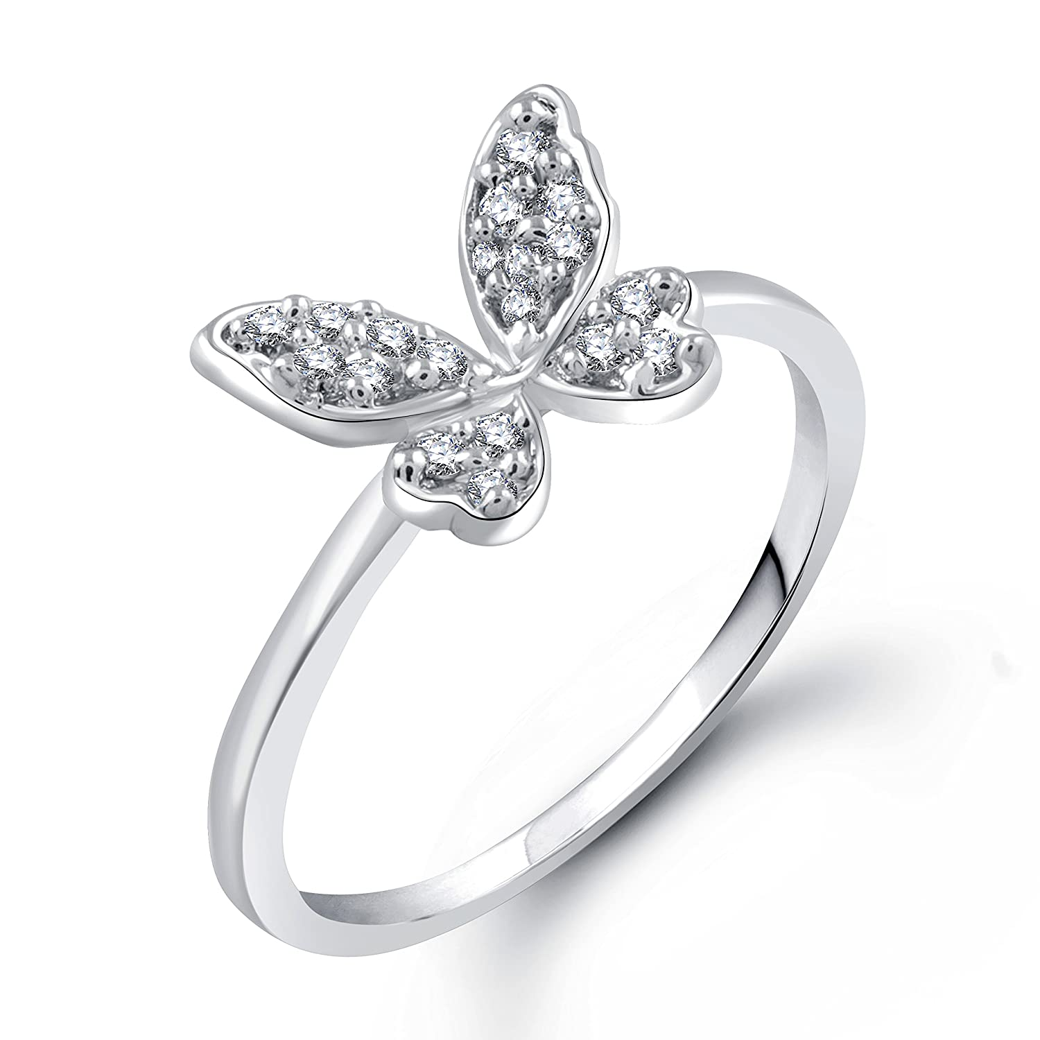 Silver Butterfly - Rhodium Plated Alloy Ring