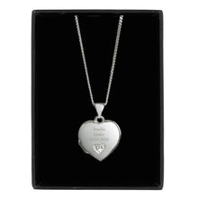Load image into Gallery viewer, Personalised Children's Sterling Silver and Cubic Zirconia Heart Locket Necklace