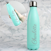 Load image into Gallery viewer, Personalised Mint Green Metal Insulated Drinks Bottle