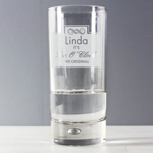 Load image into Gallery viewer, Personalised Gin O'Clock Hi Ball Bubble Glass