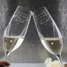 Load image into Gallery viewer, Personalised Hand Cut Heart Pair of Flutes with Swarovski Elements with Gift Box