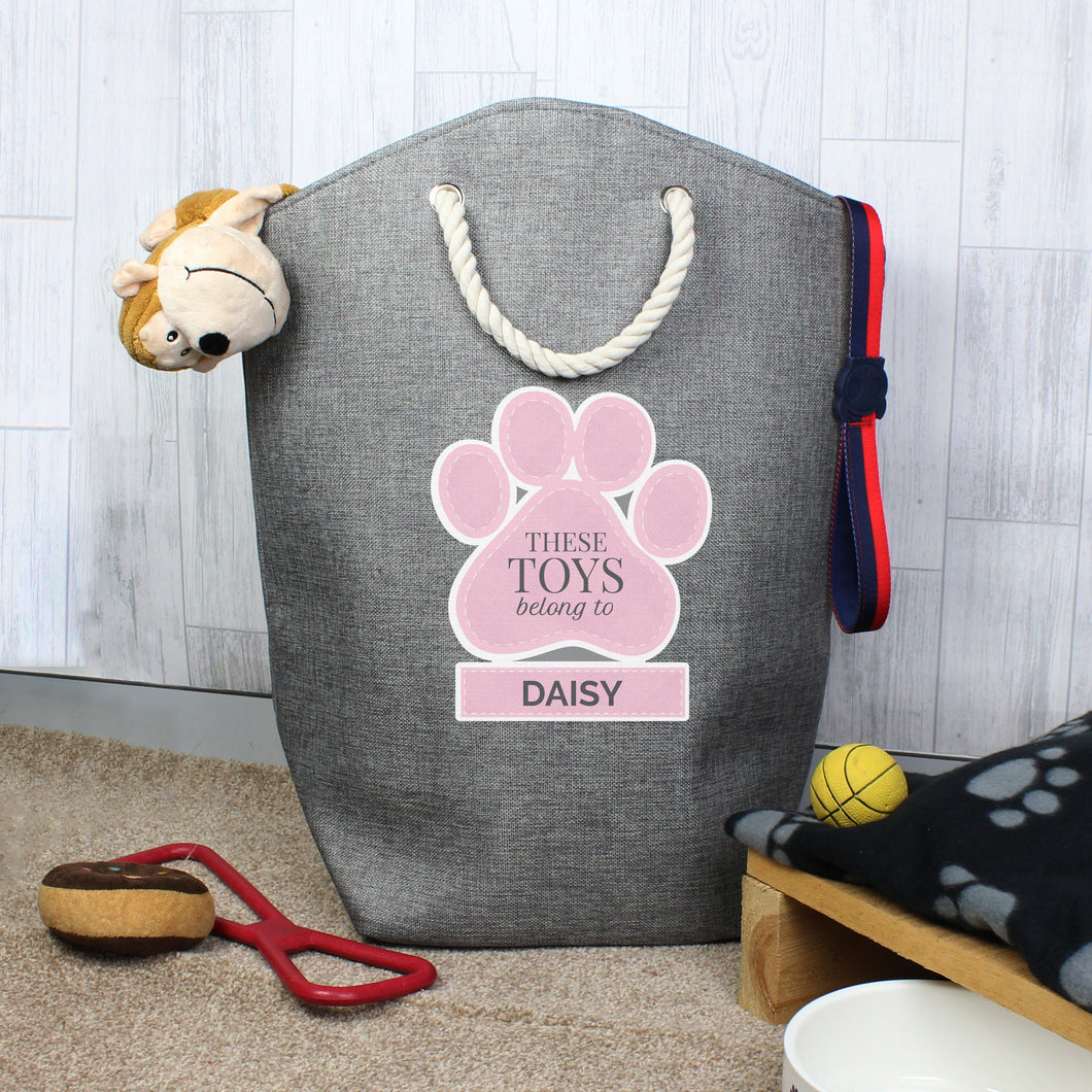 Personalised Pink Paw Print Storage Bag
