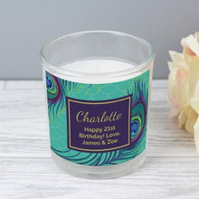 Load image into Gallery viewer, Personalised Peacock Scented Jar Candle