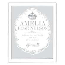 Load image into Gallery viewer, Personalised Royal Crown White Framed Print