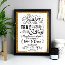 Load image into Gallery viewer, Personalised We Go Together Like... Black Framed Print