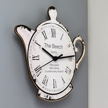 Load image into Gallery viewer, Personalised Teapot Shape Wooden Clock