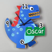 Load image into Gallery viewer, Personalised Dinosaur Shape Wooden Clock