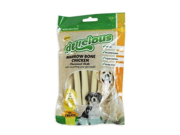 World Of Pets - Delicious Healthy 10pce Marrowbone Chicken Flavour Rolls