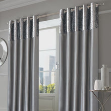 Load image into Gallery viewer, CRUSHED VELVET BAND EYELET CURTAINS