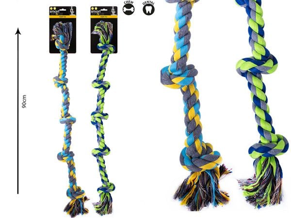 Smart Choice 90cm Large 6 Knot Rope Tug Toy ...Assorted, Picked At Random