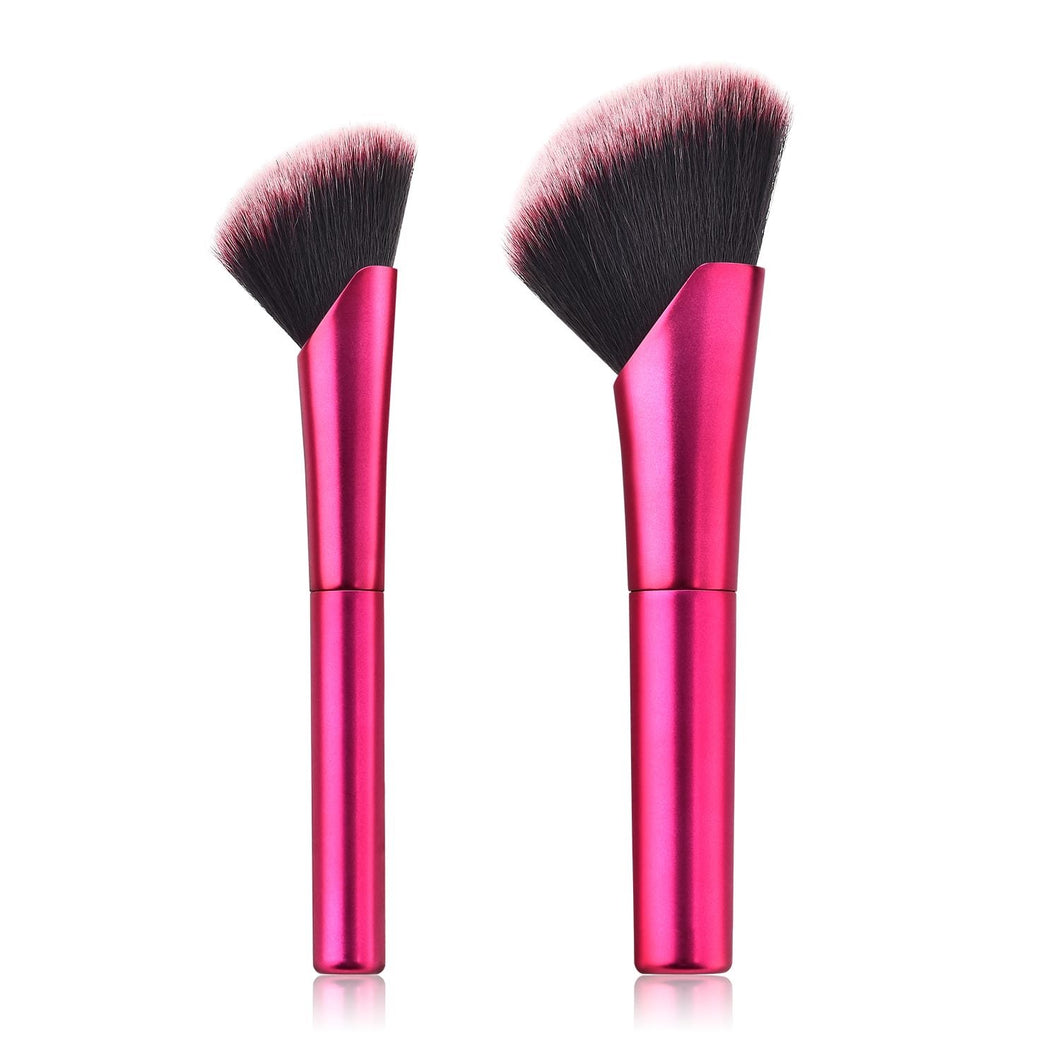 2pcs Hot-Pink Face Blending Application Brush Set