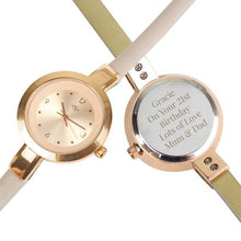 Load image into Gallery viewer, Personalised Rose Gold with Faux Leather Strap Ladies Watch
