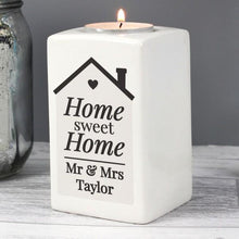 Load image into Gallery viewer, Personalised Home Sweet Home Ceramic Tea Light Candle Holder
