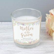Load image into Gallery viewer, Personalised Mother of the Groom 'Floral Watercolour Wedding' Scented Jar Candle