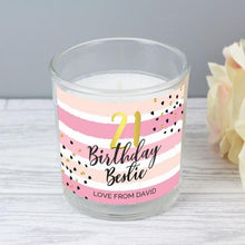 Load image into Gallery viewer, Personalised Birthday Gold and Pink Stripe Scented Jar Candle