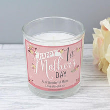 Load image into Gallery viewer, Personalised Floral Bouquet 1st Mothers Day Scented Jar Candle