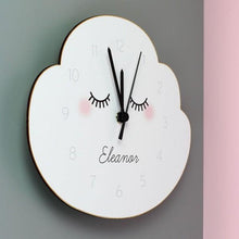 Load image into Gallery viewer, Personalised Eyelash Cloud Shape Wooden Clock