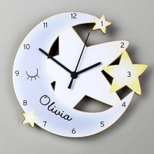 Load image into Gallery viewer, Personalised Moon and Stars Shape Wooden Clock