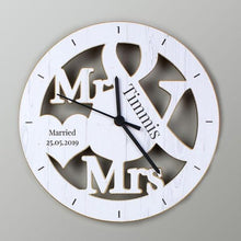 Load image into Gallery viewer, Personalised Mr & Mrs Shape Wooden Clock