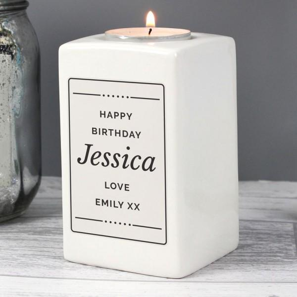 Personalised Ceramic Tea Light Candle Holder