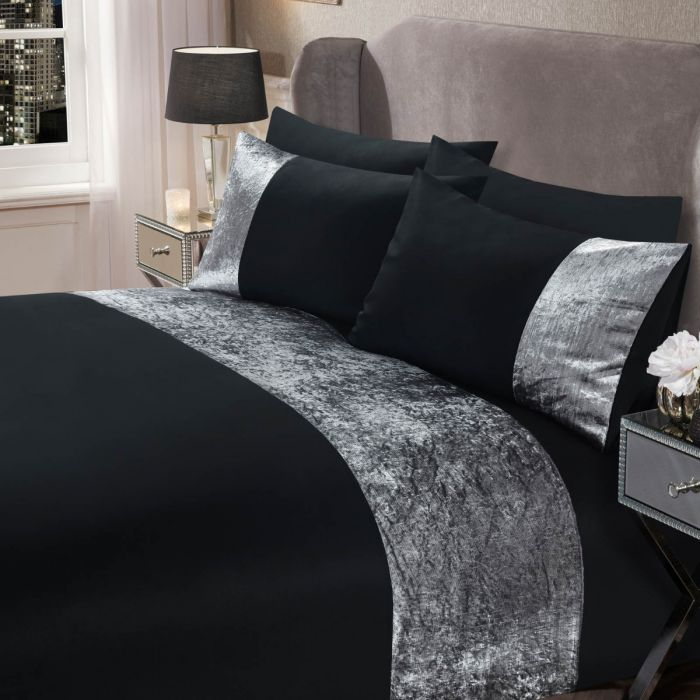 SIENNA CRUSHED VELVET BAND DUVET SET - BLACK