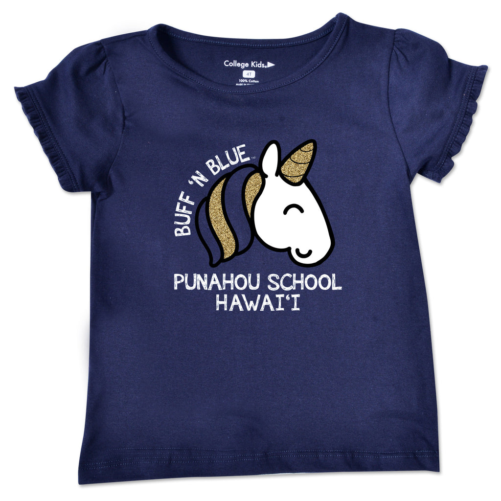 Navy Unicorn Toddler Ruffle Tee