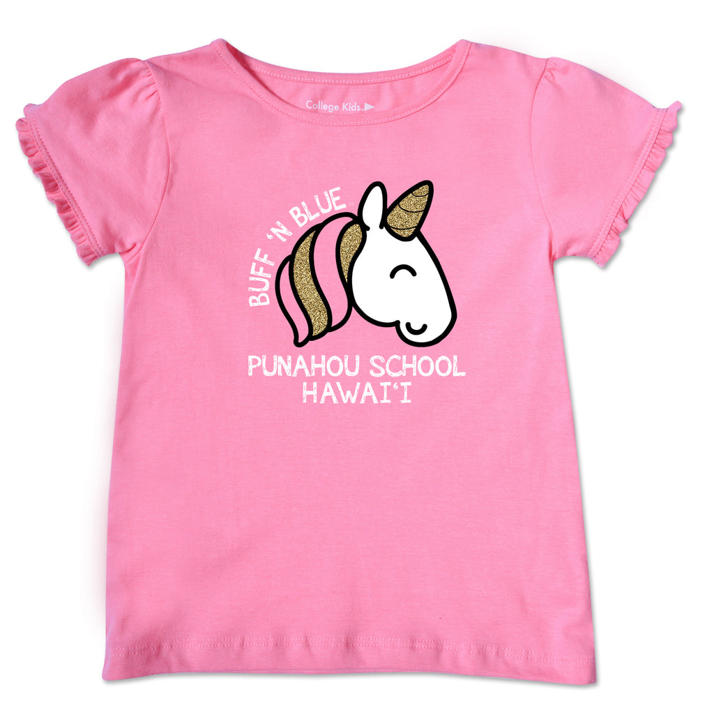 Pink Unicorn Toddler Ruffle Tee