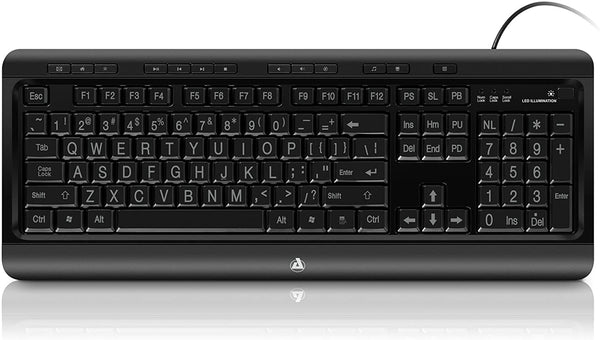 Aluratek Large Print Tri-Color USB Keyboard - Choice Computer Technologies