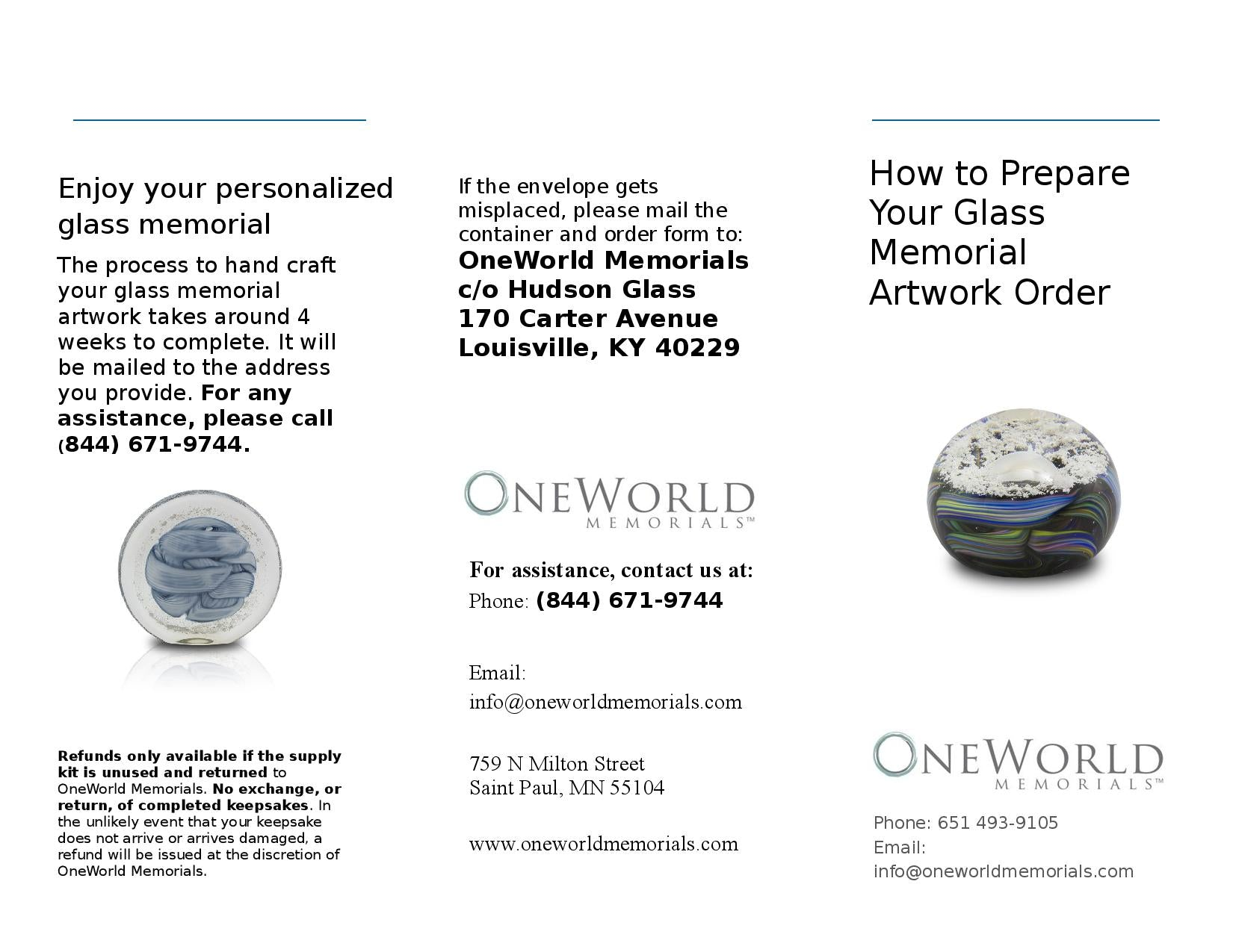 Page 1 of Glass Cremation Keepsake Instructions