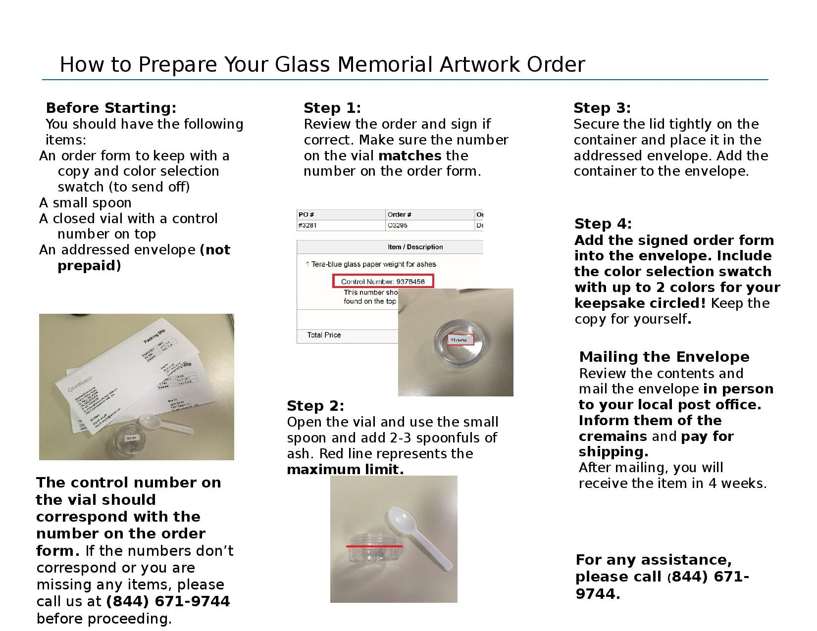 Page 2 of Glass Cremation Keepsake Instructions