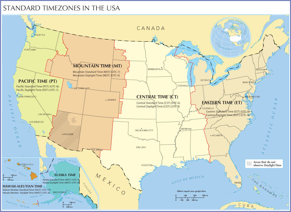 US Timezone Map