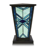 Mission style stained glass urn