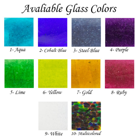 Available colors for your one of a kind Glass Cremation Keepsake