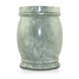 Jade colored marble cremation urn