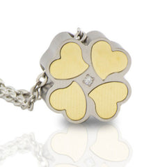 Heart in clover cremation urn pendant.