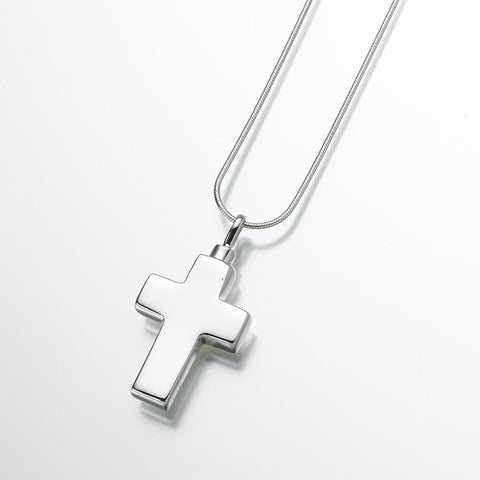 Large Silver Cross Cremation Pendant