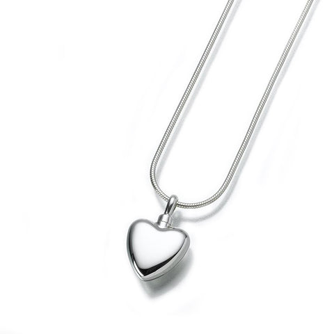 Small Silver Heart Cremation Pendant