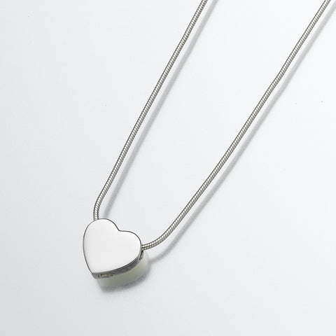 Silver Slide Heart Memorial Jewelry