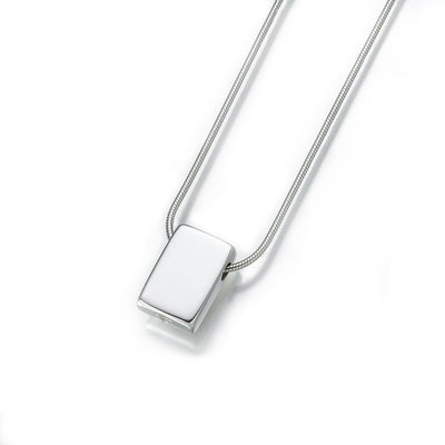 Silver Rectangle Slide Cremation Pendant