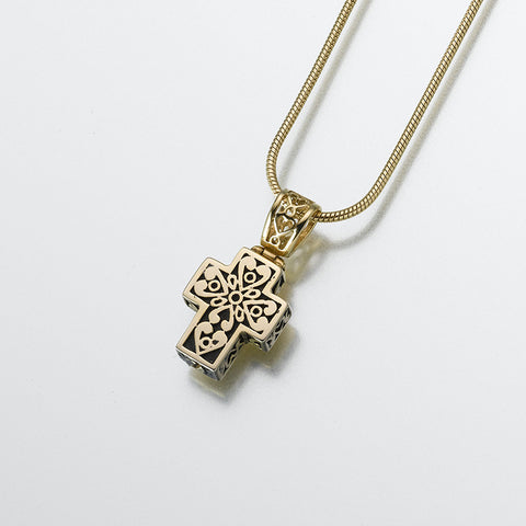 14K Gold Filigree Cross Cremation Pendant